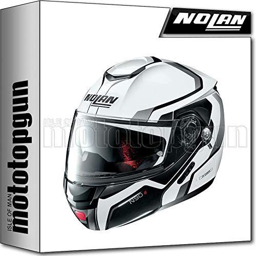 NOLAN CASCO MOTO MODULARE N90-2 MERIDIA NUS METAL BIANCO 031 TG. M