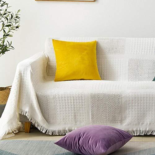 Sofá de punto decorativo manta de algodón alfombra suave sofá toalla tapiz a cuadros familia sala de estar cama viaje en avión