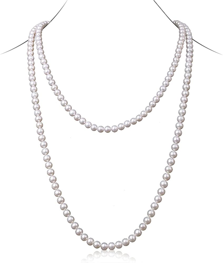 JYX Pearl Long Strand Necklace Natural White 8mm Flat Round Freshwater Cultured Pearl Necklace Endless Sweater Necklace