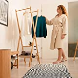 Relaxdays Teppich Baumwolle, Läufer rutschfest, Teppichläufer Flur, gewebt, Wohnzimmerteppich 120x180 cm, schwarz weiß - 4