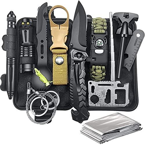 Kit de supervivencia 13 en 1- equipo y equipo de supervivencia, herramientas de supervivencia de emergencia accesorios para acampar kit táctico herramientas geniales para acampar pescar cazar