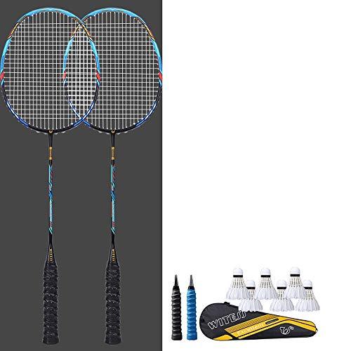 Rebily Doppelschläger Badmintonschläger Full Carbon Angriff Carbon Fiber Ultra Light EIN Schläger 5U Full Carbon Badmintonschläger (Color : Blau)