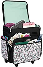 Everything Mary Collapsible Rolling Craft Bag, Pill - Wheeled Scrapbook Tote for Scrapbooking & Art - Travel Organizer Storage Bin for Paper, Glue, Tape - Roller Cart for Teachers & Medical
