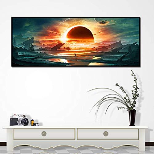 ganlanshu Erstaunliches Universum Schwarzes Loch Eclipse natürliche Landschaft Leinwanddruck Wohnzimmer Dekoration Malerei Poster,Rahmenlose Malerei,45x67cm
