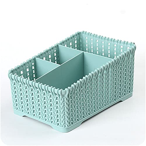 SEIWEI Organizador de clasificación versátil caja de almacenamiento de cosméticos compartimentos titular de cepillo de maquillaje diseño de ratán imitado escritorio ordenado titular de control remoto