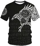 Ocean Plus Unisexo Casual Impresión 3D Deporte Hombre Camisetas de Manga Corta Mujer Partnerlook Carnaval Streetwear (L (Altura: 165-170 cm), Águila vikinga)