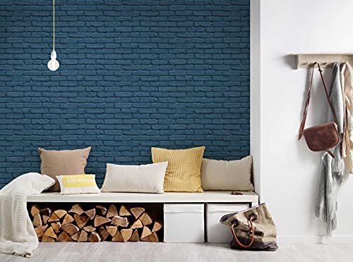 BEAUTIFUL WALLS Steintapete Brick Tapete in Backstein Optik Vliestapete blau matt glatt 358561