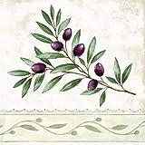 20 Servietten Mediteraner Olivenzweig | Oliven | Essen | Sommer | Tischdeko 33x33cm