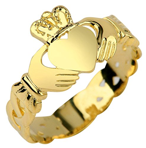 Claddagh Rings Ladies 10k Yellow Gold with Trinity Band (8)