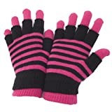Severyn Guantes mágicos 2 en 1 térmicos a rayas para mujer (sin dedos y con dedos) (Talla Única) (Rosa)