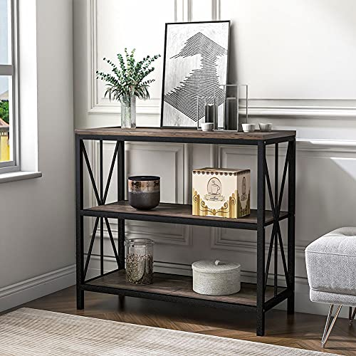 Cussity Console Table, Industrial Sofa Table With Mesh Storage Shelves For Small S Wood Console Table Center Console Table