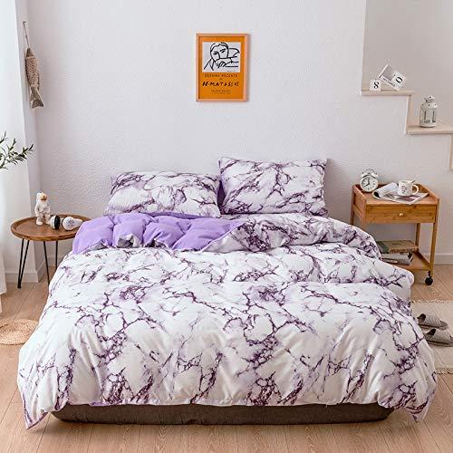 Funda de edredón de microfibra liviana de diseño reversible con diseño de mármol con cierre de cremallera, ropa de cama y funda de almohada, EU-AU-King240 * 220cm (juego de tres piezas) - púrpura