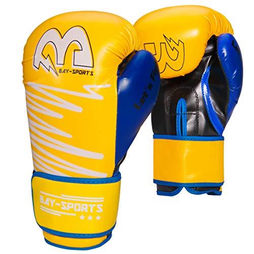 BAY-Sports Yellow Edition Boxhandschuhe Box-Handschuhe neon gelb, blau, 8, 10, 12, Boxen, Kickboxen, MMA, Thaiboxen, Muay Thai, UZ, OZ, Unzen (12 Unzen)