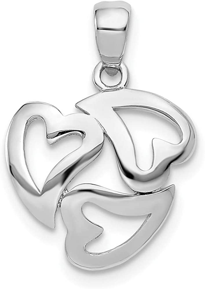 14k White Ranking TOP2 Max 83% OFF Gold Cut Out 3 Multi Necklace Heart Pendant Love Charm