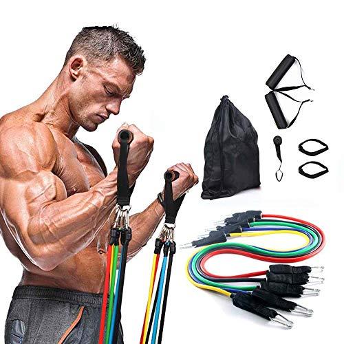 YYMM Pull-Seil-Trainingsbänder, Widerstandsbänder Latexröhrchen Fitness-elastischer, 5 Röhren-Fitness-Bänder mit Türanker, für Heimrastücher