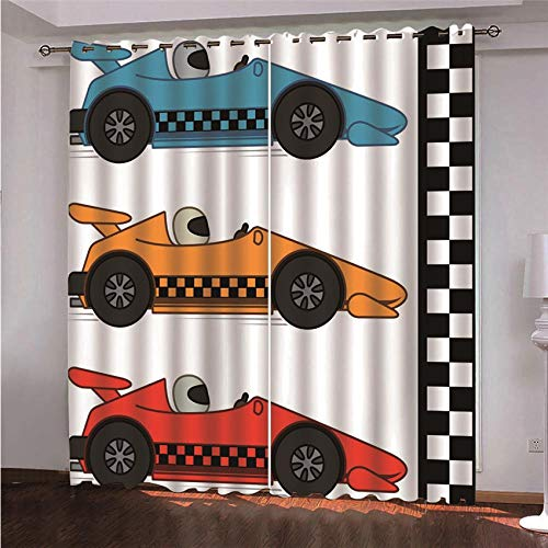 Warmte-isolerend verduisteringsgordijn, raceauto, polyester, bedrukt, 150 x 166 cm, geluidsreductie met oogjes, voor slaapkamer, kinderkamer, woonkamer, verpakking van 2 stuks