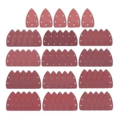 XCQ 65 stücke 140x90mm Dreieck Schleifpapier Fünf Loch Scheibe Sandplatten Körnung 40-1000 Haken und Schleife Schleifen Disc Polierwerkzeug Langlebig 0404