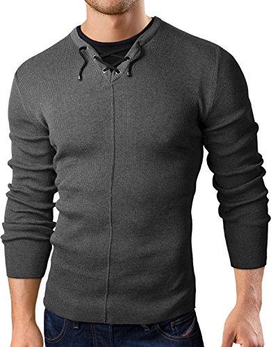 Grin&Bear Coup Slim Sweat Shirt tricoté Veste Homme Cardigan Pull, Gris foncé, M, GEC300