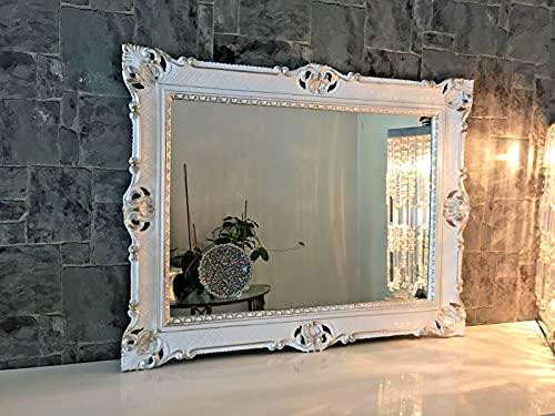 Specchio da parete bianco argento barocco 90 x 70 cm Prunk specchio antico da parrucchiere, specchio da bagno antico 3057