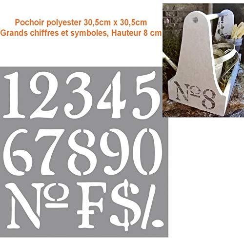 Rayher sjabloon, polyester, 30,5 cm x 30,5 cm, grote cijfers en symbolen, hoogte 8 cm
