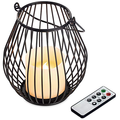 Navaris Vela LED sin Llama - Pack 1x Vela LED con 1x candelabro de Metal y 1x Mando a Distancia - Portavelas con Efecto de Movimiento - 15.3 x 17.5 CM