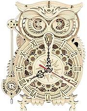 ROKR Puzzle Bois 3D Chouette l'horloge pour Adultes Enfants de Plus 14 Ans Maquette en Bois a Construire Cadeau de Kit 161 Pièces, Owl Clock