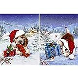 Ginfonr 5D Diamond Painting Diamante Pintura Gato Perro Navidad Sombrero Invierno Snow Por Kits Numéricos Pintura De Taladro Completo Con Decoración De Pared De Diamantes Art 30 * 40 cm, 2Pack