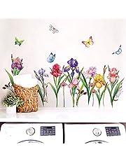 decalmile Muurstickers Tuin Bloemen Muurtattoo Narcissus Iris Wanddecoratie Woonkamer Slaapkamer TV Achtergrond