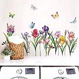 decalmile Pegatinas de Pared Jardín de Flores Vinilos Decorativos Narciso Iris Floral Rodapié Adhesivos Pared Habitación Infantiles Niña Dormitorio Salón