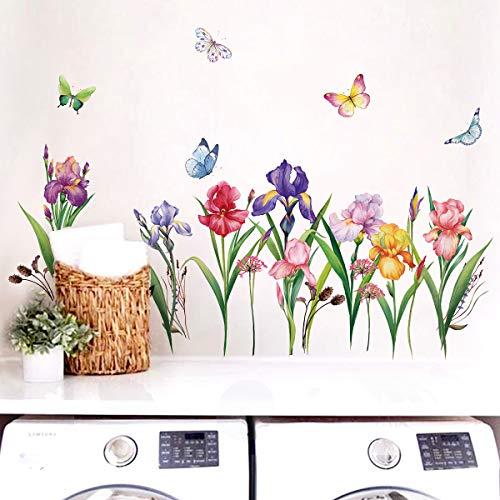 decalmile Pegatinas de Pared Jardín de Flores Vinilos Decorativos Narciso Iris Floral...