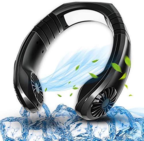 ZWHDS Handventilator, Mini Hals hängende Doppel Fans, Wearable USB aufladbare Lüfter, 3-Speed Rennen, freie Rotation Verfügbar for Fitnesstraining, Klettern Berge, Einkaufen (Color : Black)