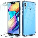 ivoler Funda para Huawei Honor Play con 3 Unidades Cristal Templado, Carcasa Protectora Anti-Choque Transparente, Suave TPU Silicona Caso Delgada Anti-arañazos Case