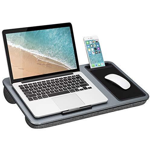"""Compatibility: Fits up to 15. 6"""" laptops and most tablets. Phone Slot: Holds all cell phones vertically in 5"""" X 0.75"""" slot. Comfort: Innovative, dual-bolster cushion conforms to your lap, keeping you cool and comfortable. Mouse pad: Work surface incl..."""
