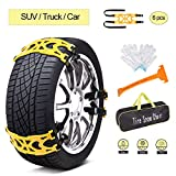 Jeremywell Car Snow Chains Emergency Anti Slip Snow Tire Chains for Most Cars/SUV/Trucks, Winter Universal Security Chains Tire Width 165mm-275mm/6.5-10.8'', Amazing Traction Thickening Durable 6pcs