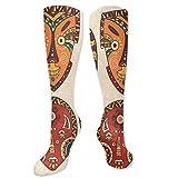 Calcetines de gato wo4-7, patrón africano tribal en máscaras rituales accesorios étnicos cultura indígena, calcetines para mujeres y hombres, lo mejor para correr, atletismo, senderismo, viajes, vuelo