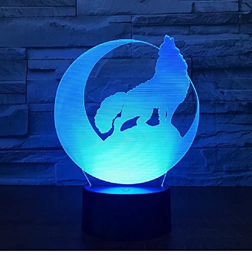 Wolf Maan 3D LED Nachtlampje, powerbank, USB-wandlamp, draadloos, cadeau, 7 kleuren, romantisch geschenk voor kinderen en vrienden