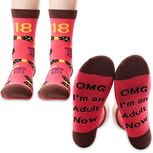PXTIDY Funny Adult Birthday Gifts 18th Birthday Socks OMG I'm an Adult Now Socks Gifts for Adult 18th Birthday 18 Year Old Girl Gift(2 Pairs/Set)