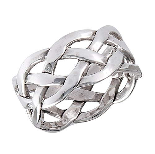 Wide Weave Mesh Knot Celtic Wedding Ring New 925 Sterling Silver Band Size 9