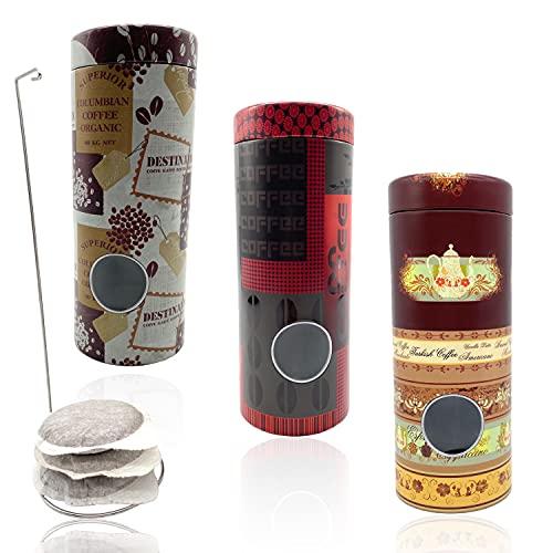Perfekto24 Kaffeepaddosen Set 3x - Kaffeepads Dose hält die Pads länger frisch - Pad Dosen Set - Vorratsdsdose für Kaffeepads - Kaffeepads-Dose mit Padheber