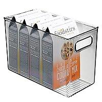 mDesignキッチン収納ボックス - キッチン用の積み重ね可能な食品収納ボックス - 缶、パケット、生鮮食品などの収納箱 - スモークグレー