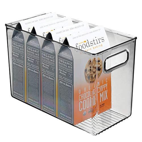 mDesign Contenitori per frigorifero – Contenitore per alimenti freschi o confezionati – Ideale come contenitore frigo o per dispensa – grigio scuro