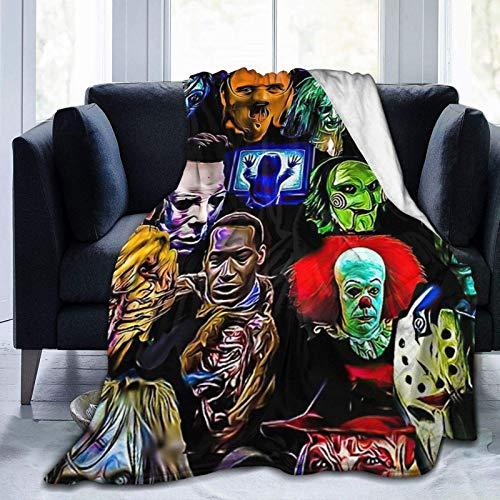 Manta de forro polar de franela de terror con diseño de personajes de película de terror ultra suave, manta de aire acondicionado, manta de microfibra para cama, sofá, silla, sala de estar, 150 x 150