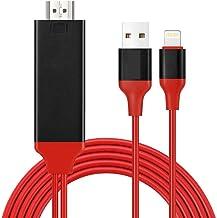 Cable Adaptador HDMI para i-Phone, Compatible con iPhone 11/11 Pro/XS/XS Max/XR/X/8/7/6/Plus iPad iPod a TV Monitor de Proyector, Cable HDMI 1080P para Teléfono