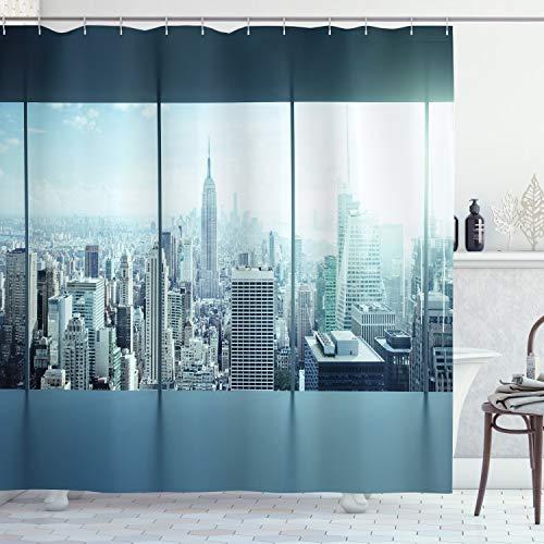 ABAKUHAUS New York Duschvorhang, Städtische Moderne Stadt, mit 12 Ringe Set Wasserdicht Stielvoll Modern Farbfest & Schimmel Resistent, 175x220 cm, Himmelblau