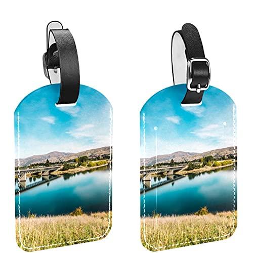 Bridge Crossing Lake 2 PCS Etiqueta de identificación de equipaje Etiquetas de maleta de viaje Etiquetas de equipaje para evitar la pérdida de bolsos y maletas