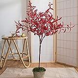 FEIYIYANG Árbol Bonsai Artificial Hermosa Planta en Maceta de olivos Artificiales, árbol Artificial fácil de Limpiar, Disponible en Dos Colores, 1 Pieza. Bonsái Decorativo Artificial (Color : Red)