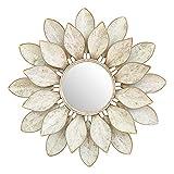 Cqing Espejo de Pared de Metal con Flor de Loto, Espejo Redondo de Pared Redondo con pétalos Decorativos en 3D, tamaño de Marco 30.7', Perfecto para Regalo de inauguración