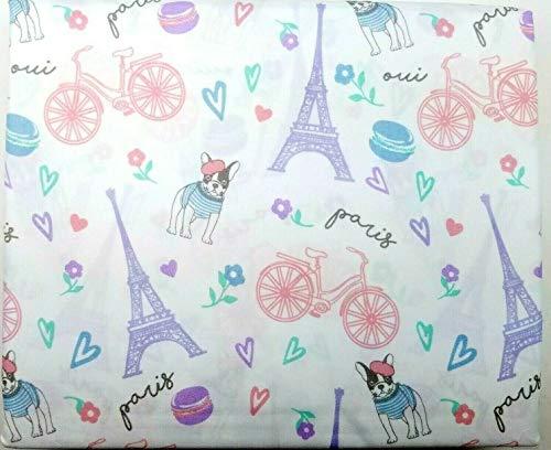 JAK & JEMMA Twin Size Paris France French Bulldog Frenchie Eiffel Tower Bed Sheet Set 3 Piece Pastels on White Pink Aqua Purple White