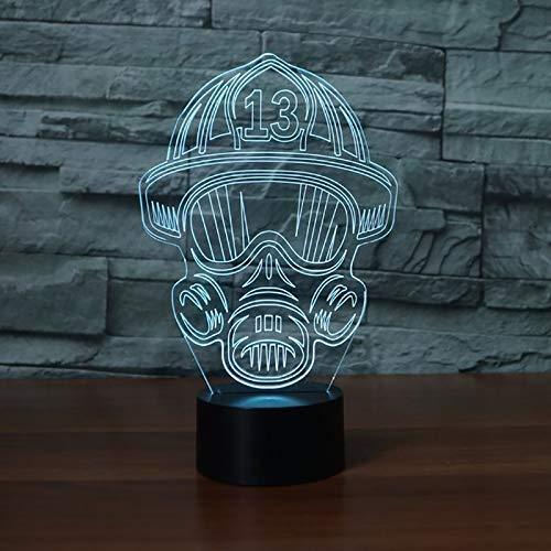 Neuheit Lampe, Fire Fighter Maske Modellierung Visuelle Tischlampe Taste LED 7 Farben wechselnden Licht Fixture-Kind-Geschenk-Deco-Touch- (Color : Touch)