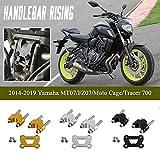 Accesorios de motocicleta Elevadores de manillar aluminio Kit abrazadera elevador Adaptador extensión superior para Yamaha MT07 FZ07 MT FZ 07 Tracer 700 2014 2015 2016 2017 2018 2019 2020(Negro)